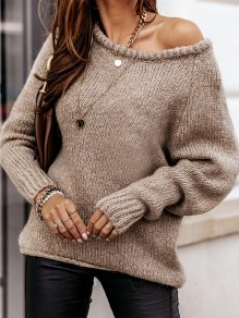 Khaki Patchwork Ruffle Comfy Boat Neck Loose Pullover Sweater