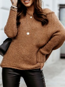 Brown Patchwork Ruffle Comfy Boat Neck Loose Pullover Sweater