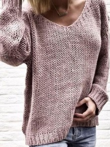 Pink Mosaic Ruffle Comfy Scoop Neck Going out Pullover Sweater
