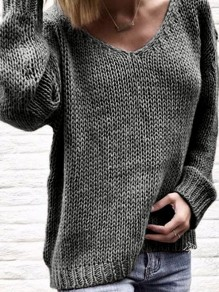 Grey Mosaic Ruffle Comfy Scoop Neck Going out Pullover Sweater