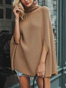 Camel Patchwork Irregular Ruffle Comfy High Neck Fashion Pullover Sweater