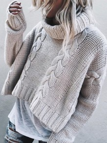 Grey Patchwork Ruffle Trendy High Neck Fashion Pullover Sweater