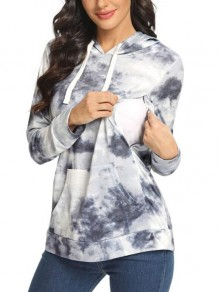 Grey Floral Pockets Drawstring Trendy Round Neck Going out Maternity Sweatshirt