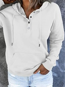 White Patchwork Buttons Drawstring Tracksuit Hooded Loose Sweatshirt
