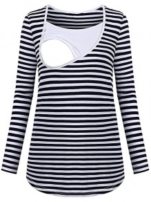 Black Striped Cut Out Trendy Round Neck Fashion Maternity T-Shirt