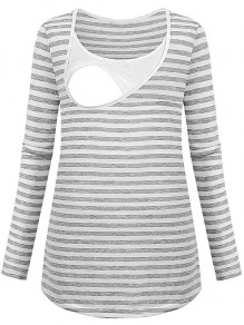 Grey Striped Cut Out Trendy Round Neck Fashion Maternity T-Shirt