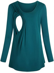 Green Patchwork Cut Out Trendy Round Neck Fashion Maternity T-Shirt
