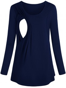 Blue Patchwork Cut Out Trendy Round Neck Fashion Maternity T-Shirt