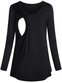 Black Patchwork Cut Out Trendy Round Neck Fashion Maternity T-Shirt