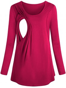 Rose Carmine Patchwork Cut Out Trendy Round Neck Fashion Maternity T-Shirt