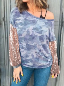 Blue Floral Sequin Glitter Round Neck Going out T-Shirt