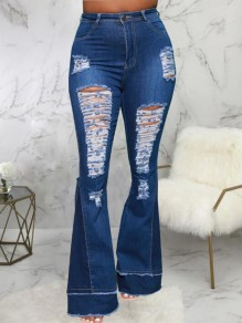 Blue Patchwork Pockets Zipper Ripped Destroyed Mid-rise Streetwear Jeans