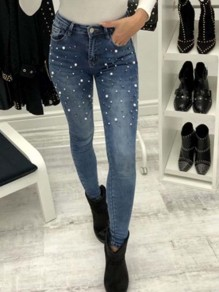 Blue Patchwork Pearl Buttons Trendy Mid-rise Fashion Jeans
