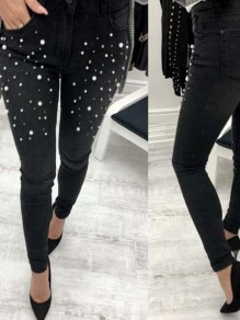 Black Patchwork Pearl Buttons Trendy Mid-rise Fashion Jeans