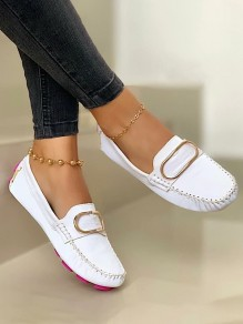 White Round Toe Flat Buttons Work Going out Shoes