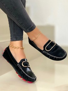 Black Round Toe Flat Buttons Work Going out Shoes