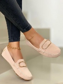 Beige Round Toe Flat Buttons Work Going out Shoes