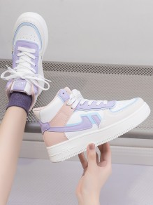 Pink Round Toe Flat Print Casual Sports Shoes