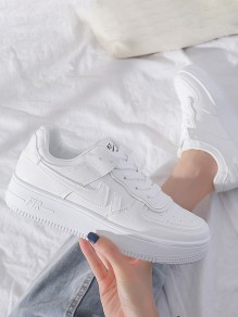 Whote Round Toe Flat Print Casual Sports Shoes