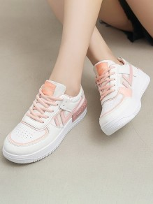 Pink Round Toe Flat Print Casual Fashion Shoes