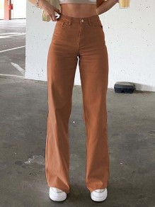 Brown Patchwork Pockets Buttons Comfy High Waisted Straight Pants