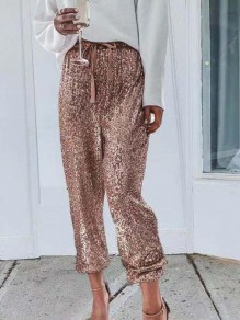 Champagne Patchwork Drawstring Sequin Glitter Mid-rise Fashion Pants