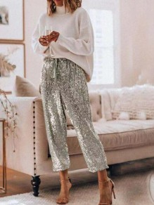 Silver Patchwork Drawstring Sequin Glitter Mid-rise Fashion Pants