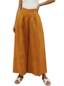 Yellow Patchwork Pockets Comfy High Waisted Elegant Pants