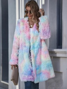Pink Colorful Pockets Tie Dye Fur Long Sleeve Outerwear