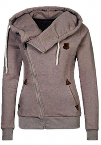Khaki Pockets Badge Drawstring Hooded Long Sleeve Casual Hooded Sweatshirt