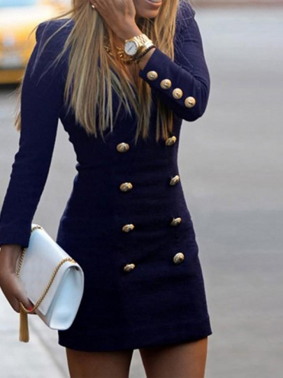 Navy Blue Double Breasted Button Down V-neck Long Sleeve Bodycon Mini Dress