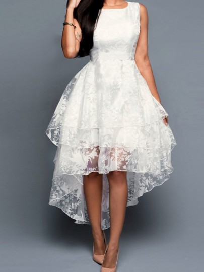 White Lace Pleated Swallowtail Multi-layer Embroidery Prom Ball Gown Wedding Maxi Dress