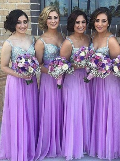 lilac bridesmaids Purple Patchwork Sequin V-neck Party Polyester Maxi Bridesmaid Dress