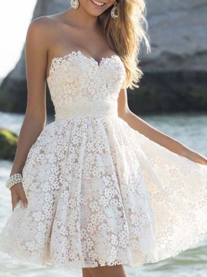 White Floral Lace Bandeau Sleeveless Sweet Party Mini Dress