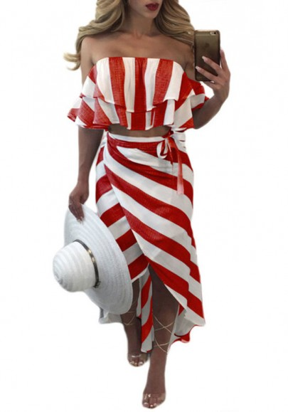Red-White Striped Bandeau Sashes Cascading Ruffle Off Shoulder Maxi Dress