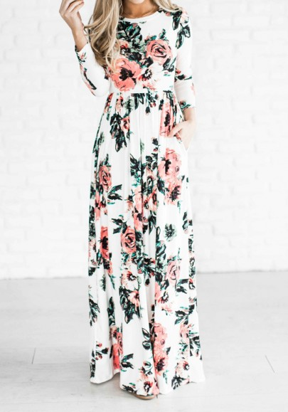 White Floral Draped Gypsy Round Neck Long Sleeve Bohemian Maxi Dress