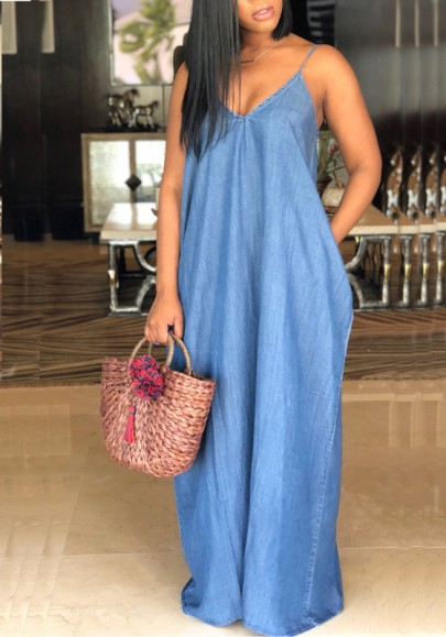 Blue Draped Pockets Spaghetti Strap V-neck Casual Denim Maxi Dress