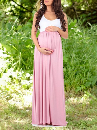 Pink-White Patchwork Draped High Waisted Elegant Maternity Party Maxi Dress For Babyshower