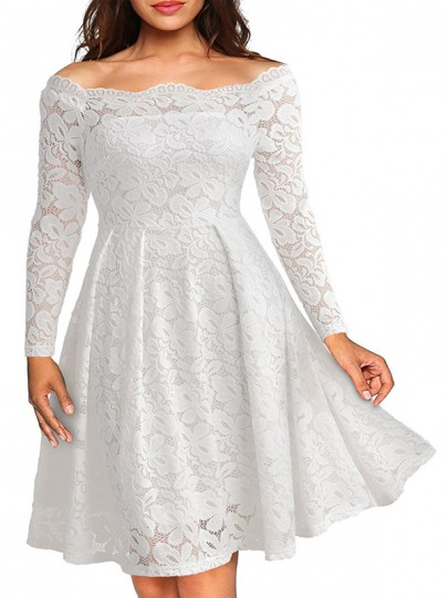 White Patchwork Floral Lace Off Shoulder Short Sleeve High Waisted Elegant Homecoming Prom Evening Party Midi Dress