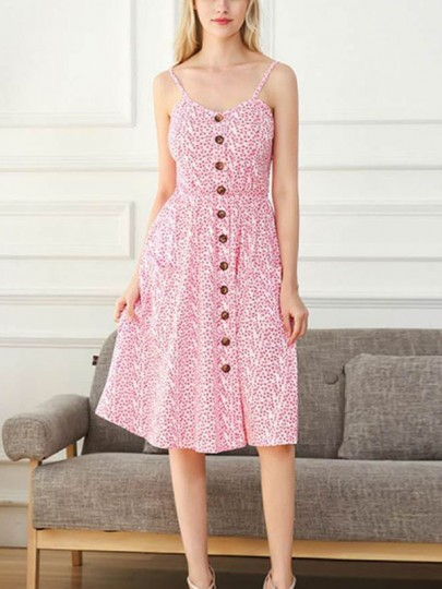 Pink Floral Print Pockets Buttons Sleeveless Midi Dress