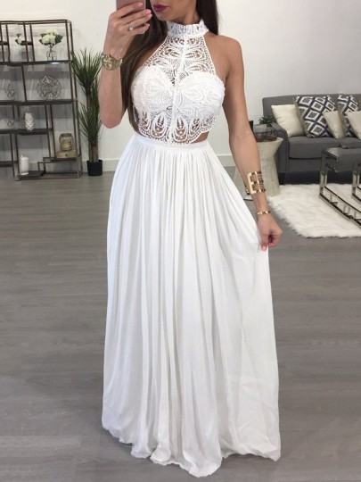 White Patchwork Lace Backless Pleated Halter Neck Elegant Party Prom Maxi Dress