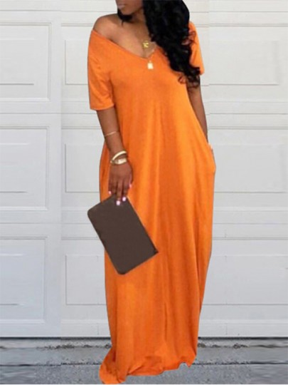 Yellow One Off Shoulder V-neck Slouchy Draped Pockets Beachwear Casual Maxi Dress