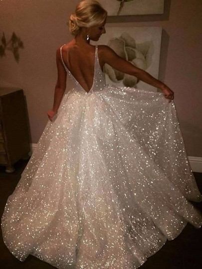 White Simple Sequin Glitter Double Deep V-neck Backless Prom Evening Party Maxi Dress