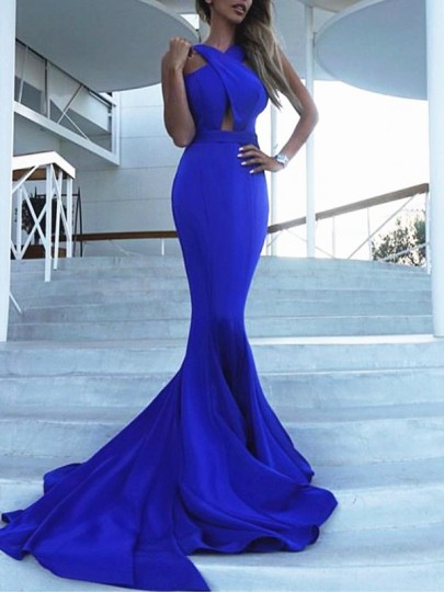 Royal Blue Draped Cross Back Cut Out Backless V-neck Sleeveless Mermaid Elegant Wedding Gowns Prom Maxi Dress