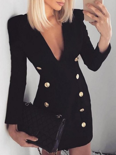 Black Double Breasted Deep V-neck Long Sleeve Bodycon Office Worker Mini Dress