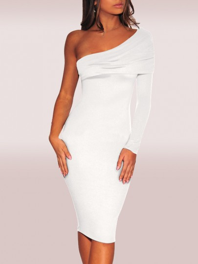 White One Shoulder Backless Hip Bodycon Long Sleeve Princess Elegant Midi Dress