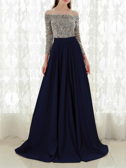 Navy Blue Patchwork Sequin Pleated Off Shoulder Sparkly Glitter Birthda Long Sleeve Party Maxi Dress