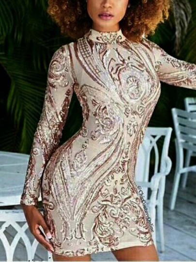Apricot Patchwork Sequin Sparkly Glitter Long Sleeve Birthday Party Clubwear Mini Dress