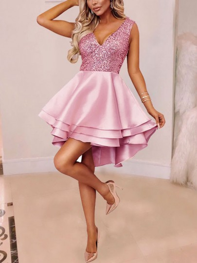 Pink Silver Sequin Cascading Ruffle Pleated High-Low Sparkly Glitter Tutu Cocktail Mini Dress