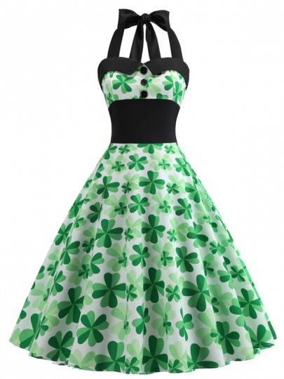 Green Halter Neck Four-leaf Clover Print Belt Long Sleeve Bow Pleated St. Patrick's Day Maxi Dress